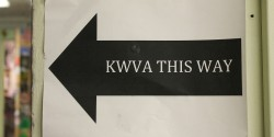 KWVA This Way sign at college radio station KWVA