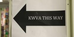 KWVA This Way sign at college radio station KWVA