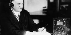 Herbert Hoover at a wireless set.