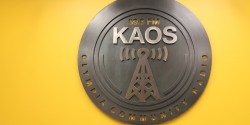 KAOS sign at college radio station KAOS-FM. Photo: J. Waits