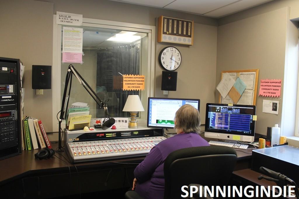 On-air studio at KAOS. Photo: J. Waits
