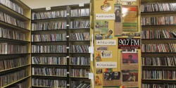 CD library at college radio station KAOS. Photo: J. Waits