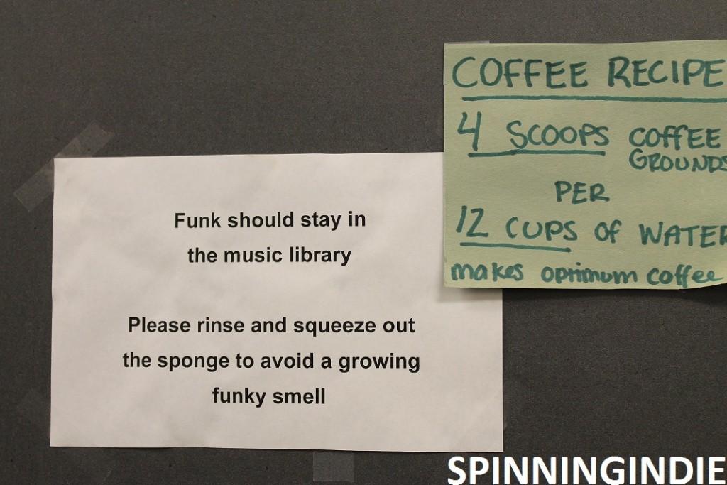 Sign above the kitchen nook at KAOS. Photo: J. Waits
