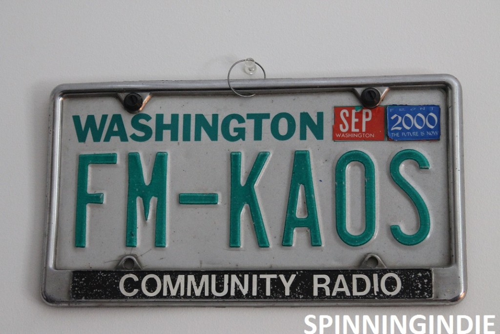 FM-KAOS license plate at KAOS. Photo: J. Waits