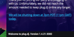 Plug.dj shutdown notice.