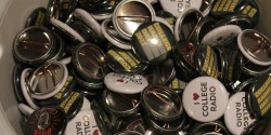 "College Radio Day's ""I Love College Radio"" buttons at CBI. Photo: J. Waits"