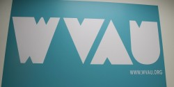sign at college radio station WVAU