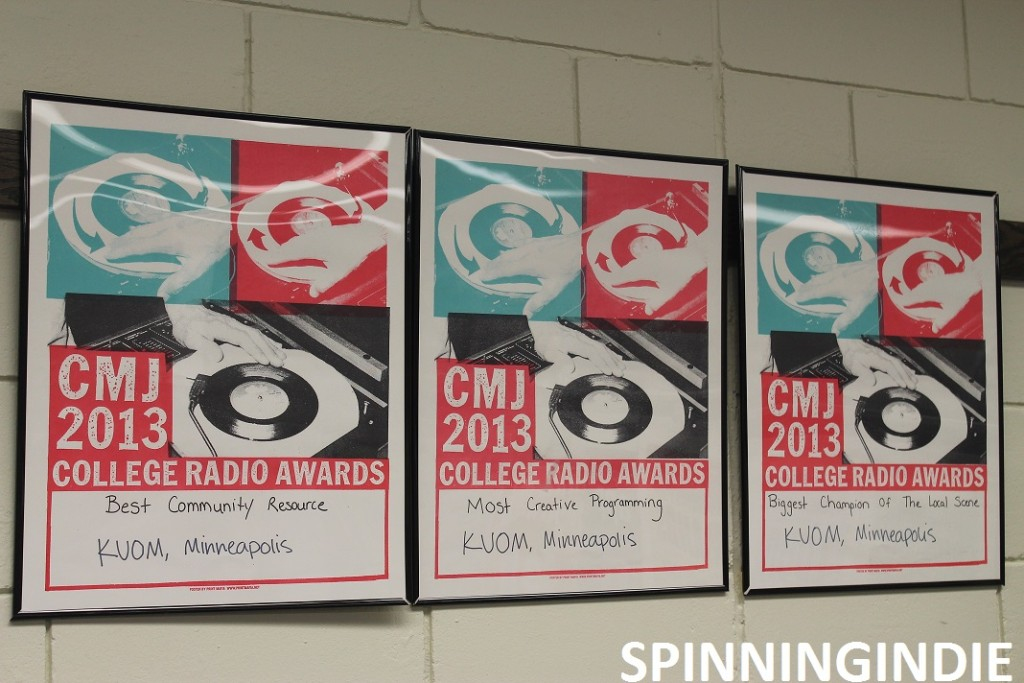 CMJ awards on wall at Radio K