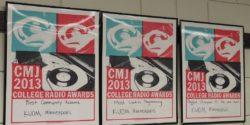 CMJ awards on wall at Radio K. Photo: J. Waits