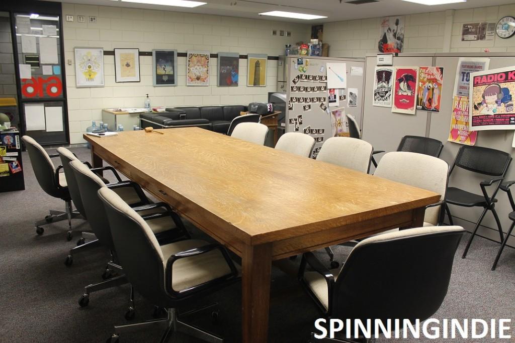 break room at college radio station Radio K