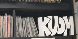 Leo Blais KUOM sign at college radio station Radio K. Photo: J. Waits