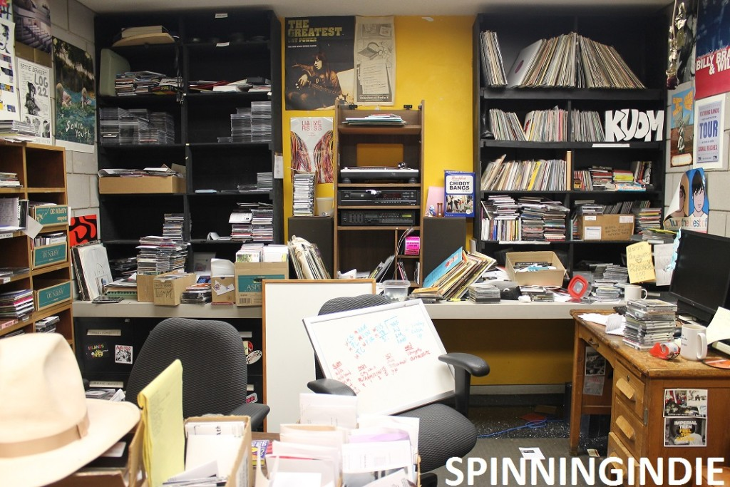 Music Director office at Radio K + Leo Blais sign