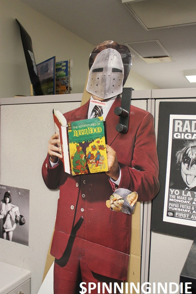 cardboard Ron Burgundy at Radio K