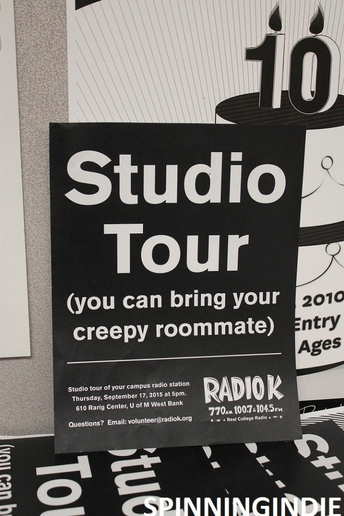 "promotional sign at Radio K - ""studio tour. You can bring your creepy roommate"""