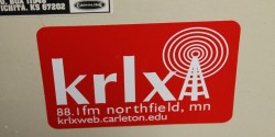 KRLX sticker at the Carleton college radio station. Photo: J. Waits