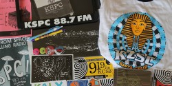 college radio swag at UCRN Fall 2015. Photo: J. Waits