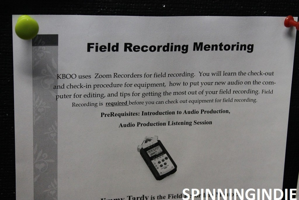 Sign up sheet for KBOO Field Recording Mentoring Class. Photo: J. Waits