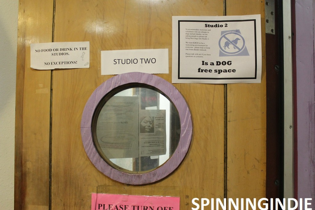 Studio 2 at KBOO is a dog-free zone. Photo: J. Waits