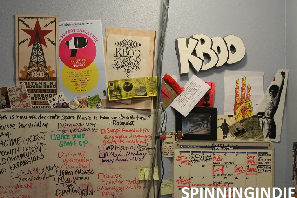 Leo Blais' KBOO sign in Becky Meiers' office. Photo: J. Waits