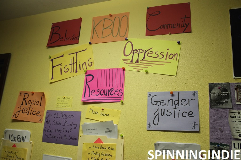 Fighting Oppression Resources at KBOO for dealing with Racial Justice and Gender Justice. Photo: J. Waits