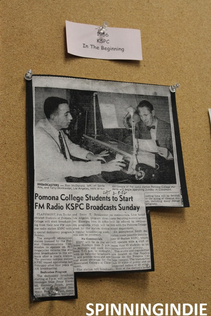 Article on wall at KSPC about the station's early days. Photo: J. Waits