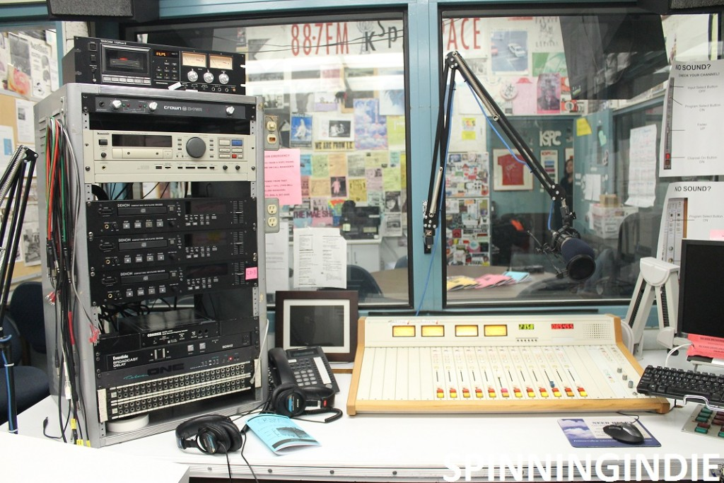 Production studio at KSPC. Photo: J. Waits