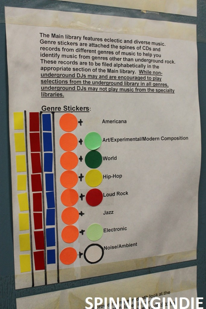Music genre sticker guidelines at KSPC. Photo: J. Waits