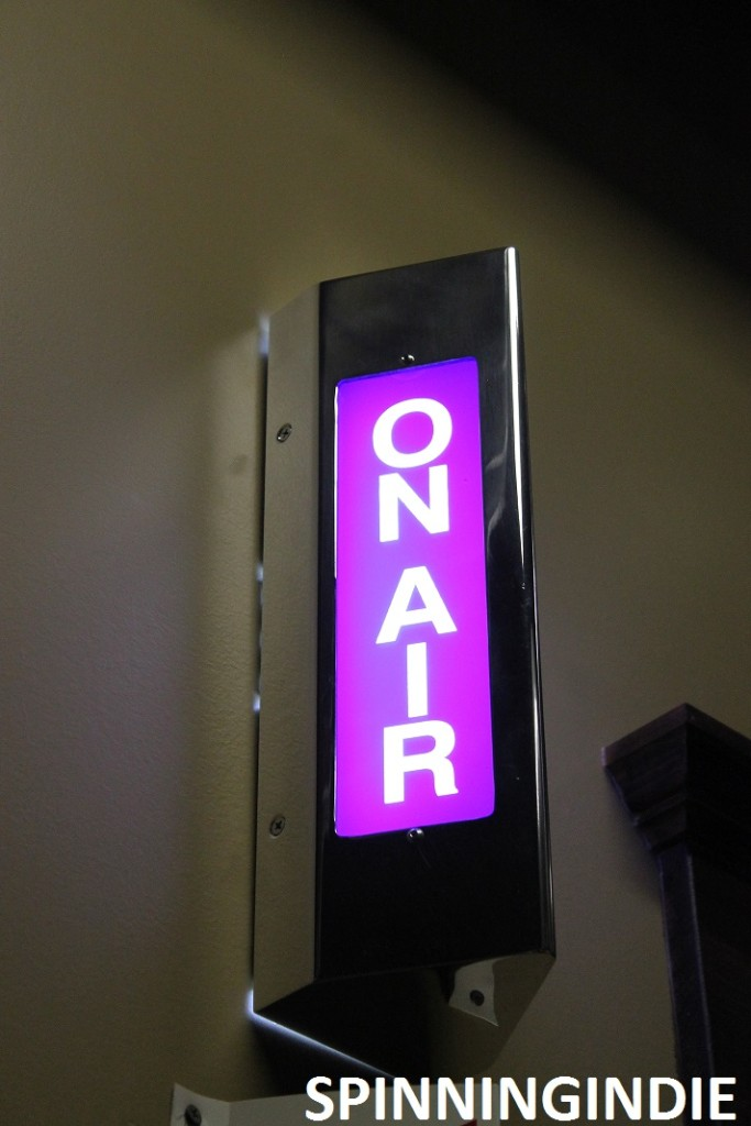 On-air sign at XRAY.fm. Photo: J. Waits