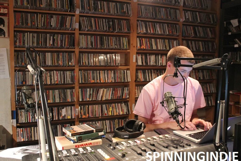 DJ in studio at college radio station WMCN. Photo: J. Waits