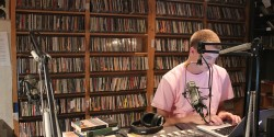 DJ in studio at college radio station WMCN. Photo: J. Waits