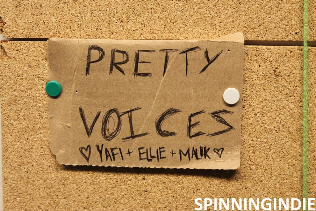 "WMCN show ""Pretty Voices"" on the schedule on the wall. Photo: J. Waits"