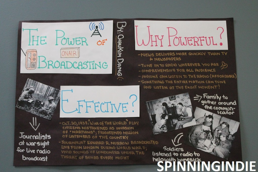 Student poster on the Power of Broadcasting at KBPS. Photo: J. Waits