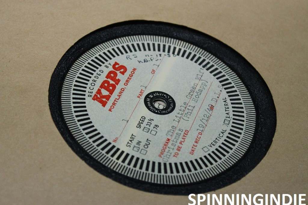 Transcription disc containing KBPS-AM programming from 1949. Photo: J. Waits
