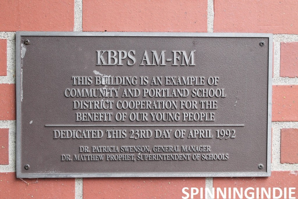 Plaque at high school radio station KBPS-AM. Photo: J. Waits