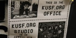 Sign at college radio station KUSF.org. This is the KUSF.org office. Photo: J Waits