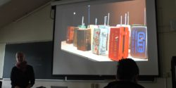 Anna Friz talks about radio art at UCRN college radio conference. Photo: J. Waits
