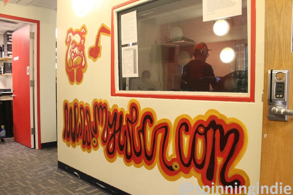 View of WBCR mural and production studio from lobby. Photo: J. Waits