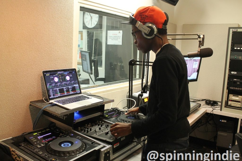DJ in a production studio at college radio station WBCR. Photo: J. Waits