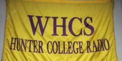 Banner at Hunter College radio station WHCS. Photo: J. Waits