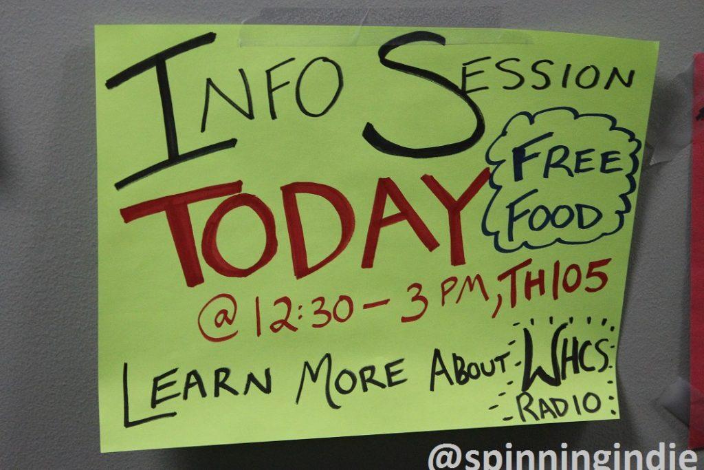 Info Session poster at WHCS. Photo: J. Waits