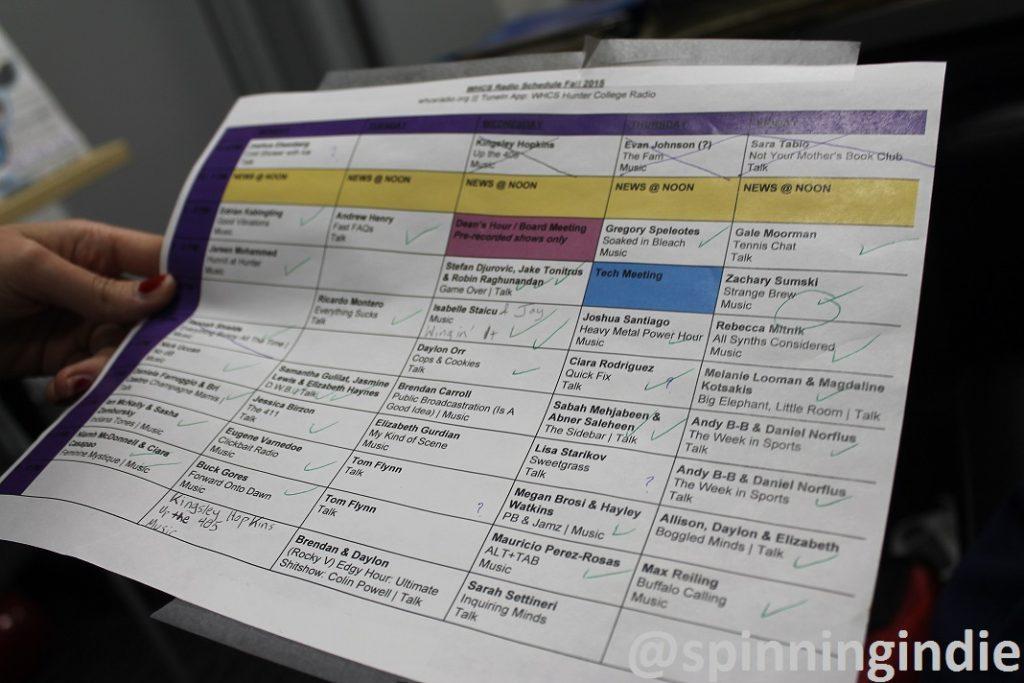 WHCS schedule. Photo: J. Waits