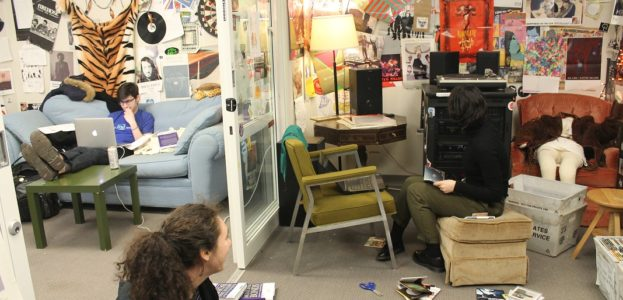 Music office at college radio station WPRB. Photo: J. Waits