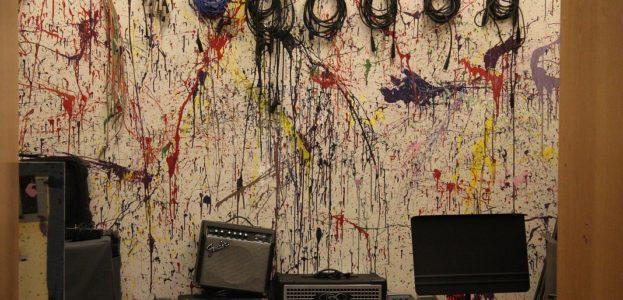 Gear closet in college radio station WPRB's live music room. Photo: J. Waits