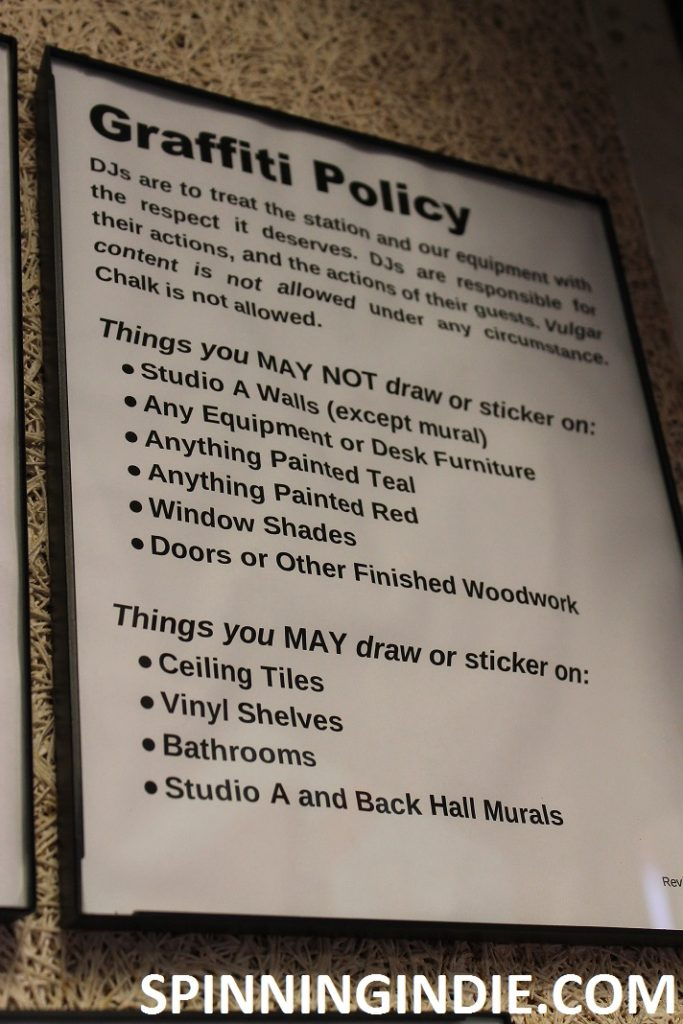 Graffiti policy at Tufts University's college radio station WMFO. Photo: J. Waits