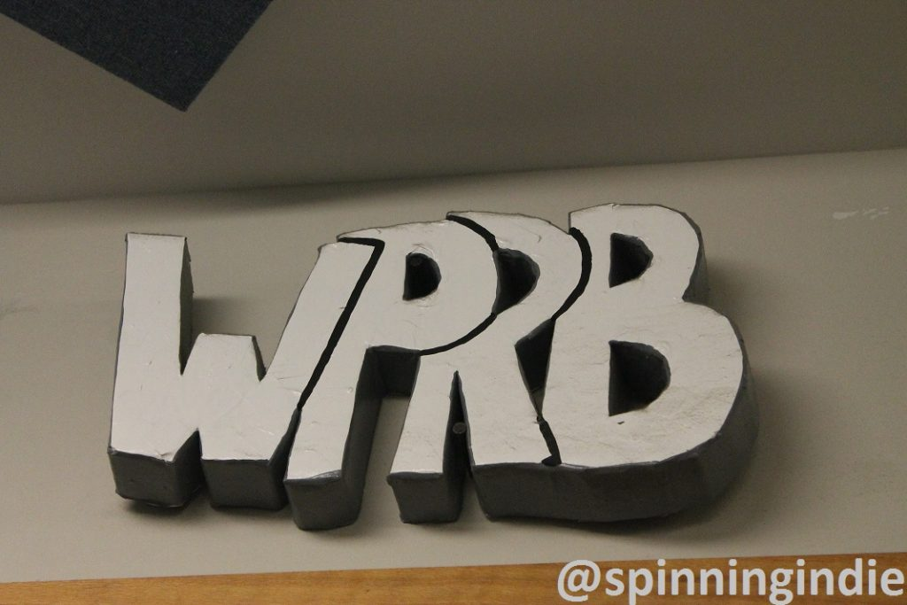 Leo Blais-crafted WPRB sign in the WPRB studio. Photo: J. Waits