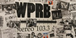 Collage on wall of Mike Lupica's office at college radio station WPRB. Photo: J. Waits
