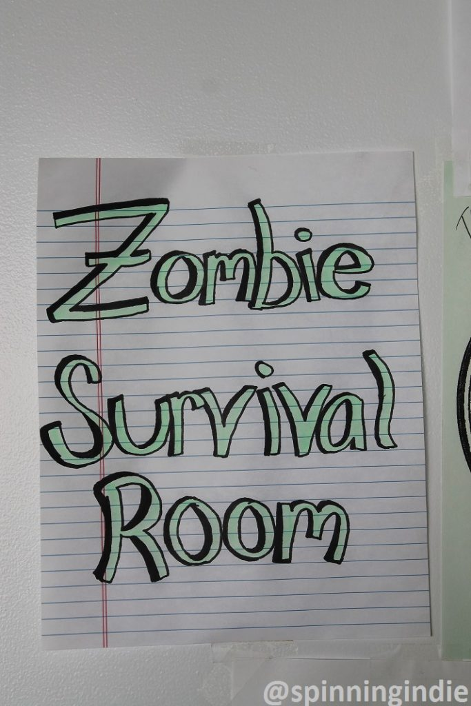 Zombie Survival Room sign at college radio station WRBB at Northeastern University. Photo: J. Waits