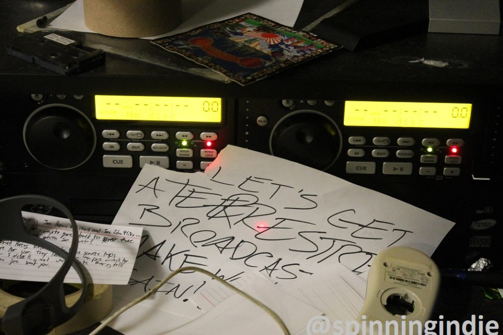 """Let's gets a terrestrial broadcast"" note at WCUA. Photo: J. Waits"