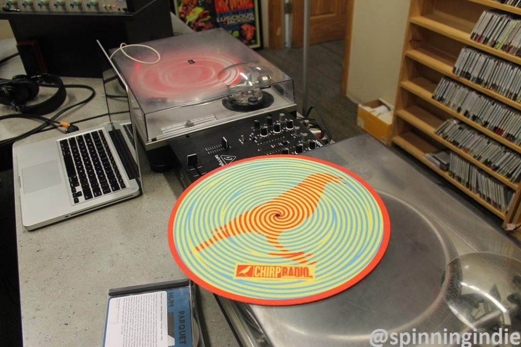 Turntables in CHIRP Radio studio. Photo: J. Waits
