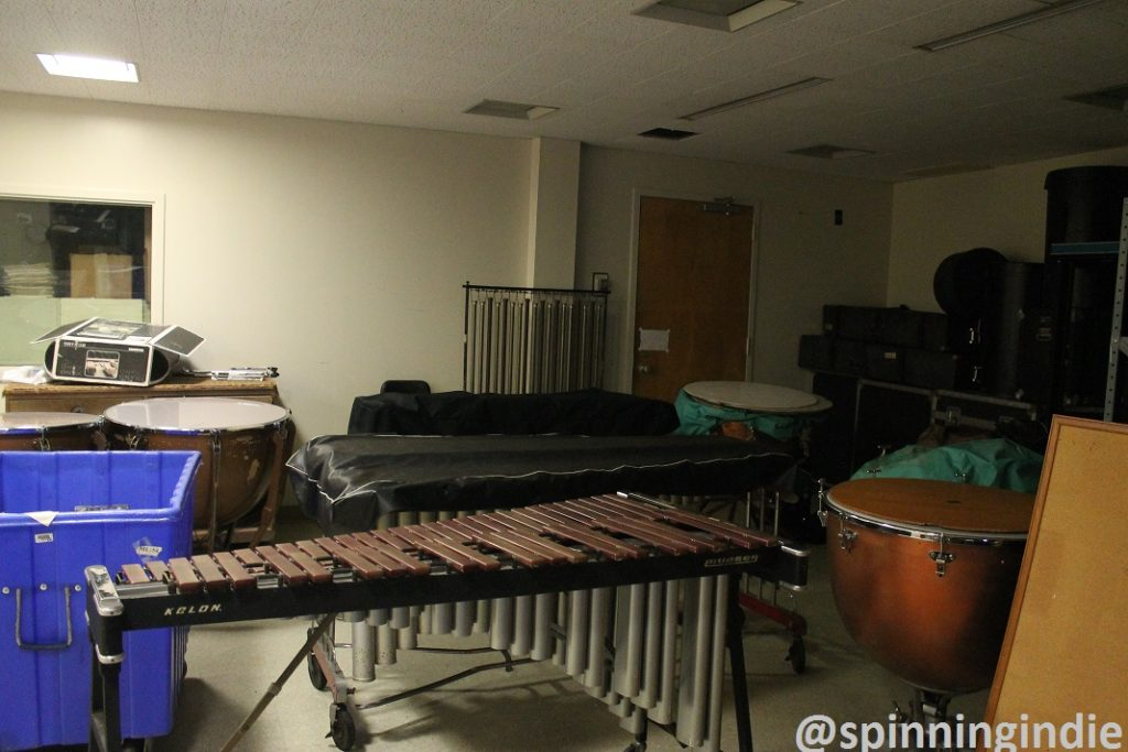 Percussion department storage in space shared with WCUA. Photo: J. Waits